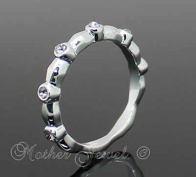 Stunning Gift Silver Plate Clear Crystal Ladies Girls Stackable Ring Size 7