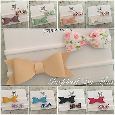2x Headband Baby Girl Toddler Newborn Bow Flower Leather Nylon Hair Accessory