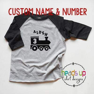 Train Birthday Shirt Custom Name Toddler Boy Girl 1 2 3 4