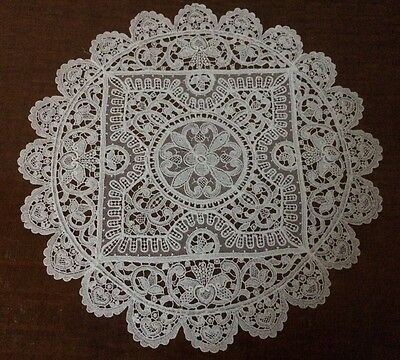 Exquisite white lace doily, very detailed lace work