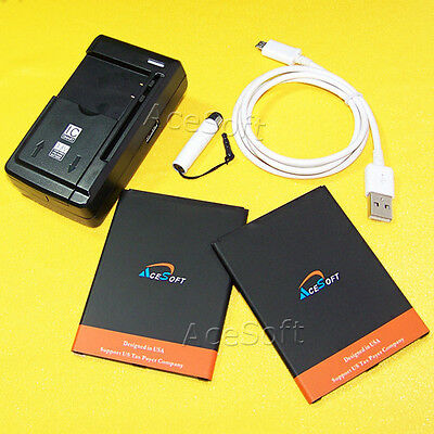 High Power 2x 5280mAh Battery Charger Cable Pen For Samsung Galaxy Mega I527 USA