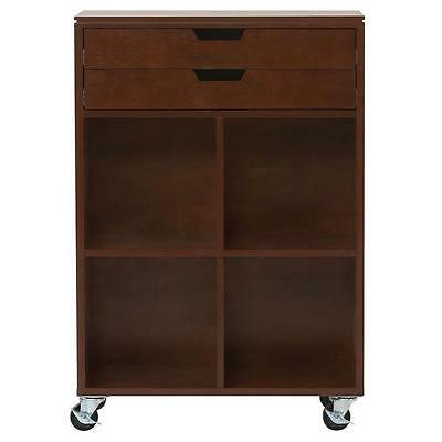 Rolling Storage Cart 2 Drawer MDF Home Office Trolley Organizer Cabinet Chestnut