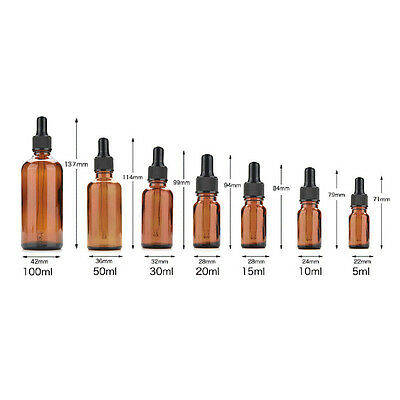 5ml-100ml Amber Glass Liquid Reagent Pipette Bottle Eye Dropper Aromatherapy ONE