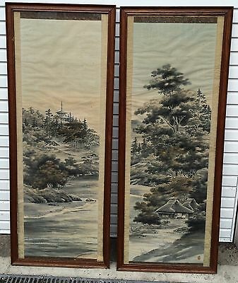 LARGE Antique Pair Japanese Framed Wall Panels Textile Prints Hanging Scrolls