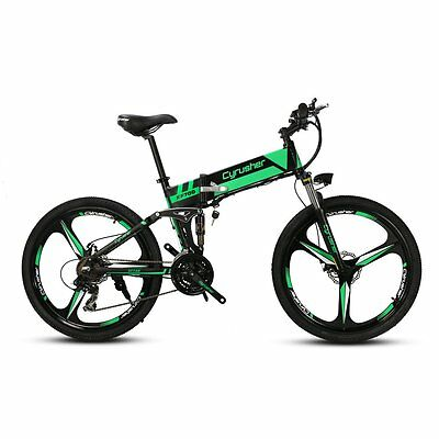 26in 21 Speed 350W 36V Full Suspension Folding Mountain Electric Bike Bicycle