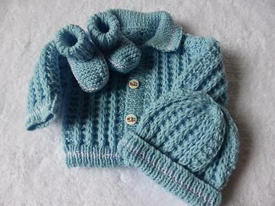 Gorgeous Hand Knitted Baby Jacket Hat and Booties -0-3 months