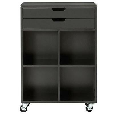 Rolling Storage Cart 2 Drawer Black MDF Home Office Trolley Organizer Cabinet
