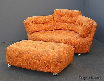 Vintage Mid Century Modern Tufted Orange Floral Chair LOVESEAT & Ottoman UNIQUE