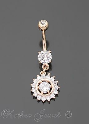 14K Rose Gold Triple Plated Simulated Diamond Dangle Belly Button Navel Ring