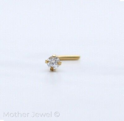 20G 14K Yellow Gold Ip 2Mm Simulated Diamond L Shaped Bent Bend Unisex Nose Stud