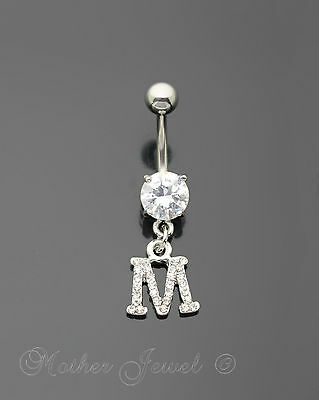 Letter M Alphabet Cz Dangle 316L Surgical Steel Navel Belly Curved Bar Ring