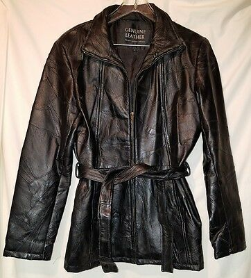 Navarre Mosaic Black Belted Genuine Leather Womens Coat Jacket Zip Up SZ L