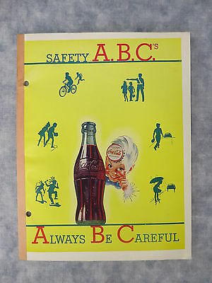 Unused Vintage Safety A.B.C.'s/Always Be Careful Coca-Cola Lined Paper Note Pad