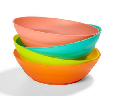 Plastic Bowls Multi Purpose Cereal Dessert Salad Picnic Kitchen Dish Set of 4
