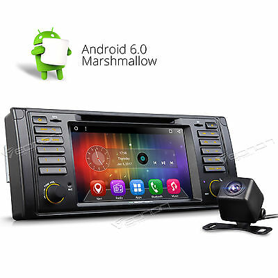 "Backup Camera 7"" Android 6.0 Car DVD Player Radio WIFI GPS Nav O Fits BMW E39 M5"