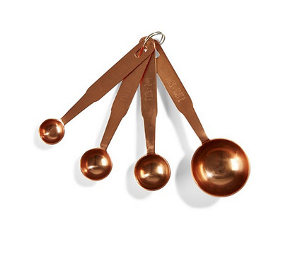 Measuring Spoons Baking Utensil Stainless Steel Kitchen Tool Copper Set of 4