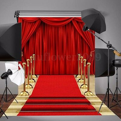 5x7FT Red Carpet Curtain Vinyl Backdrop Photography Photo Background Studio Prop