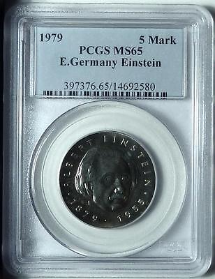 "East Germany 1979 5 Mark ""Einstein"", PCGS MS65, Pop 2/1"