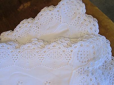 White Eyelet Made in Austria 5 Piece Platemats, Scalloped Edge Never Used w/ Tag