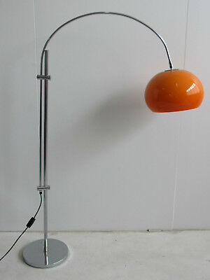 Vintage Bogenlampe Chrome & Orange, 1960/70
