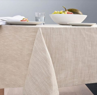 Tablecloth Rustic Table Cover Protector Linen Look Cotton Fabric Beige