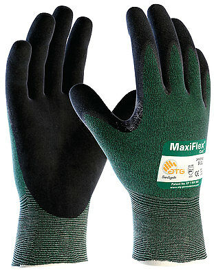 ATG 34-8743 MaxiFlex Cut 3, Xtra fine liner, Green Eng Yarn, Blk Gloves, 3-Pack
