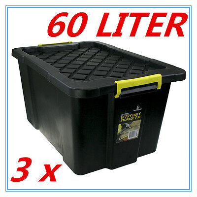 3 x Black Heavy Duty Large Plastic Storage Tubs 60L Crate Containers Tub Lid