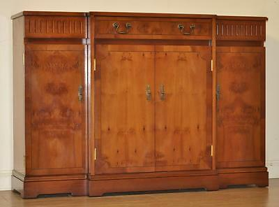 Vintage Break Front Yew Bookcase Shelves Cabinet Drawers Sideboard Credenza