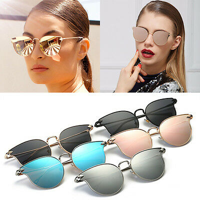 Quality Womens Fashion Mirror Lens Cat eye Sunglasses Gold Pink Designer