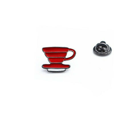 New Red Barista Cafe Coffee Geek Dripper Ceramic V60 Pour Over Brooch Badge