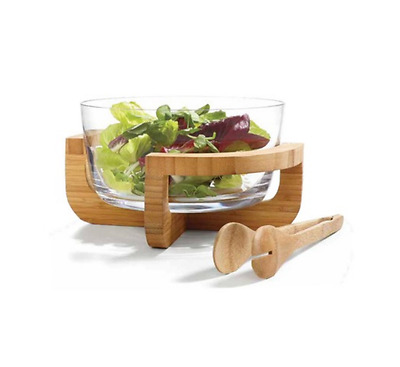 Salad Glass Bowl Serving Dish Kitchen Tableware Elegant w/ Bamboo Stand