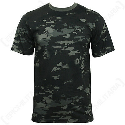 Black Multitarn Camouflage T-Shirt - Top T Shirt Military Army Airsoft All Sizes