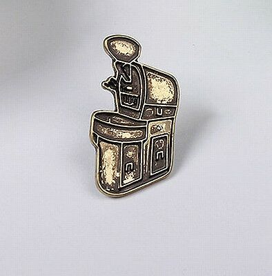 Bronze Barista Cafe Geek Coffee Bean Roasting Machine Roaster Pin Brooch Badge