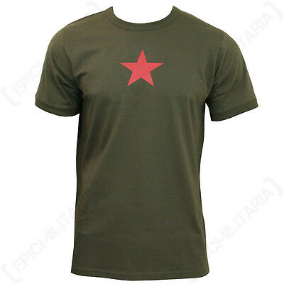 Olive Green Soviet Red Star T-Shirt - Russian T Shirt Top Cotton New All Sizes