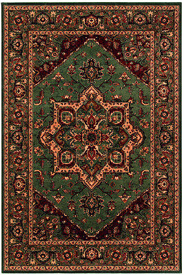 Antique HIGH QUALITY GREEN Persian Medallion Oriental Style Rug Runner 100% Wool