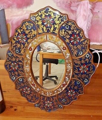 Rare large Early Russian mirror cloisonné decorated under glass wood hanpainted