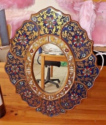 Rare large Early Russian mirror decorated under glass wood hanpainted