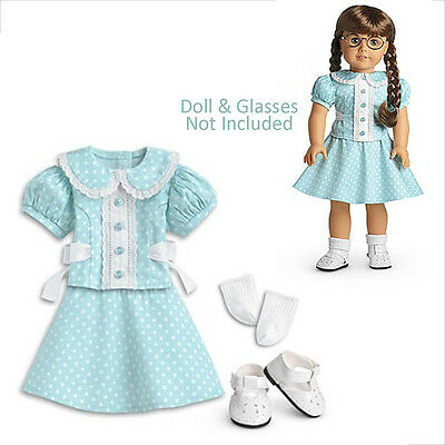 "American Girl MOLLY POLKA DOT OUTFIT for 18"" Dolls Clothes Retired Molly's NEW"