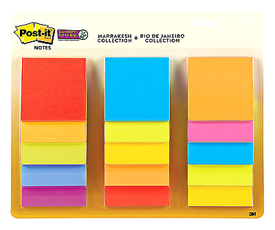 Post-it Super Sticky Notes, 3 in x 3 in, Assorted Colors, 15 Pads/Pack, 45 Shee