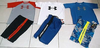 Under Armour Boys Size Large /6 Piece Athletic Lot Of Shorts & Tops Set In Nwt!