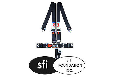 STR 5-Point SFI Approved Harness, Nascar Latch/Link with Velcro, Seat Belt Black