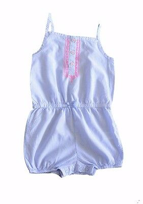 Carter's Baby Girl Romper Striped White Blue Size 24 Months One Piece