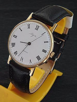 LUCH VINTAGE MENS MECHANICAL  watch Made in USSR  GOLD PLATED