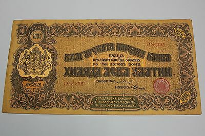 BULGARIEN ND 1920 1000 LEVA ZLATNI BULGARIA BANKNOTE PICK#33a F  BILLETE