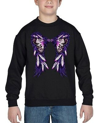 Shop4Ever Purple Butterfly Wings Youth Crewneck Fashion Sweatshirts