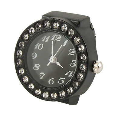 New Practical Ladies Elastic Black Band Rhinestone Case Finger Ring Watch N3T8
