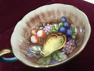 Chase VINTAGE TEA CUP AND SAUCER Fruit Pattern Dark Green Gold