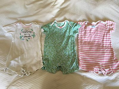 Baby Girls, M And S, 3x Summer Romper, Size 6-9 Months