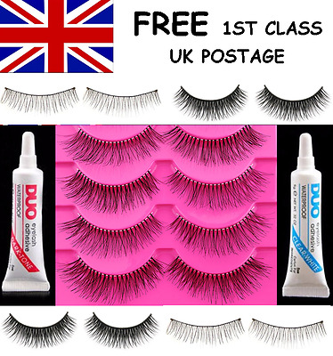 1, 3, 5 OR 10 PAIRS FALSE EYELASHES WITH OR WITHOUT CLEAR or DARK TONE GLUE