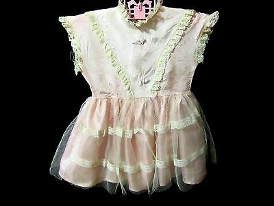 "Child's VTG Dress Pink Taffeta Lace 16"" Long Sweet Collectible"